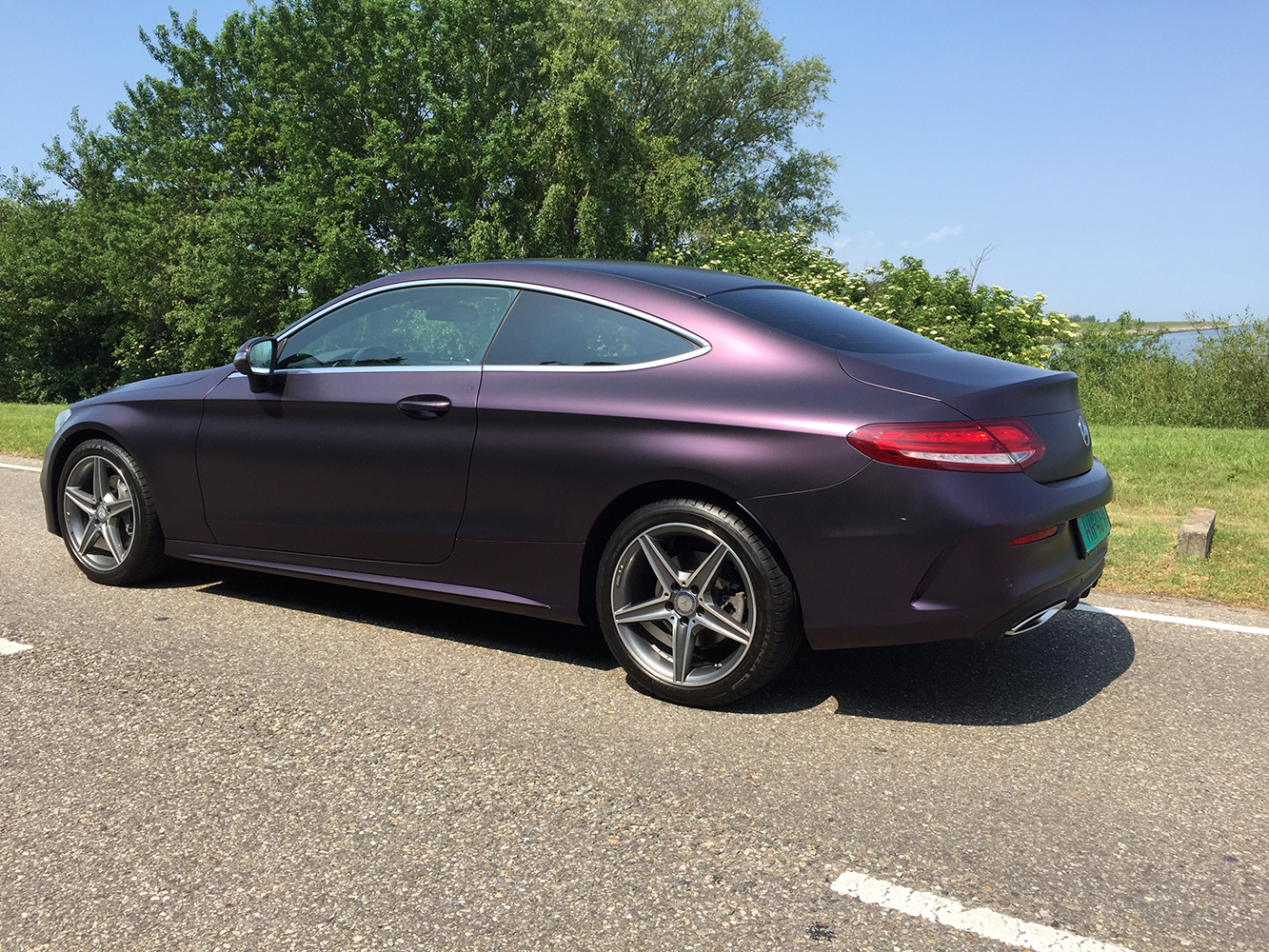 Mercedes C Coupe Wrap Mat Paars Matt Midnight Purple Metallic-12